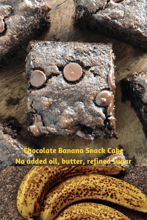 This wholesome but delicious Chocolate Banana Snack Cake is moist, sweet and rich tasting, yet has no butter, no oil, no refined sugar and is made with whole grain flour.