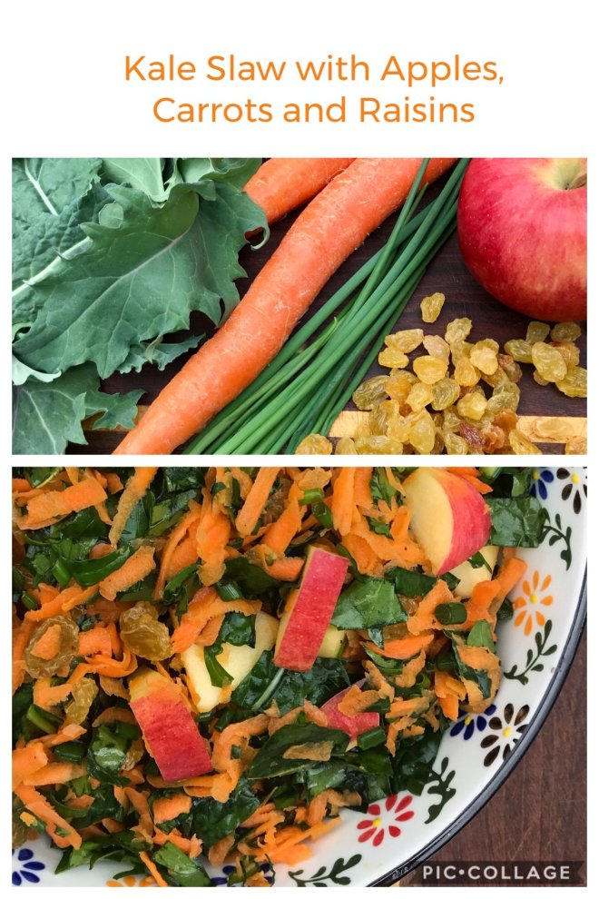 Kale Slaw with Apples, Carrots and Raisins collage