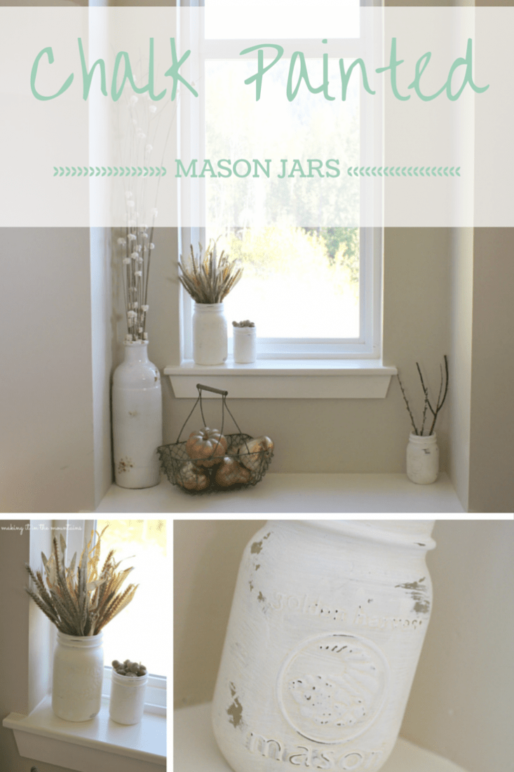 Chalk Painted Mason Jars :: making it in the mountains #chalkpaint #masonjars #gold #falldecor