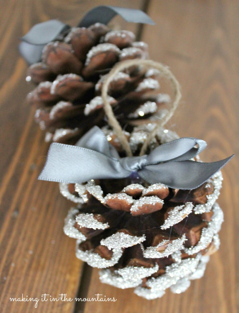 glass glitter pine cone ornaments making it in the mountains - Homemade Pine Cone Christmas Decorations