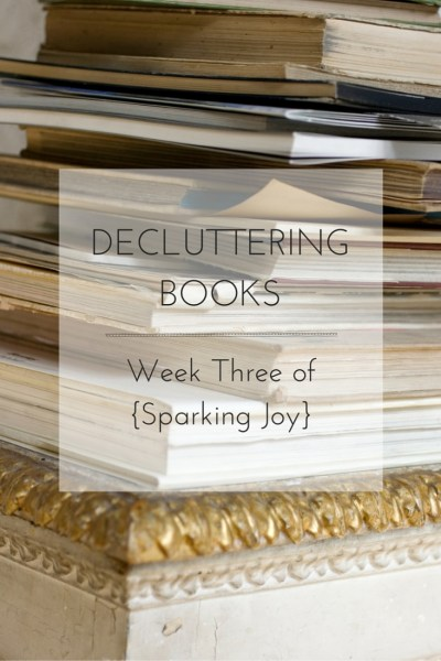 Turns out the real magic to tidying up doesn't come from clever storage ideas or organizing tricks, it all starts with the act of decluttering. See how I worked through decluttering my books on my journey to {Sparking Joy}!