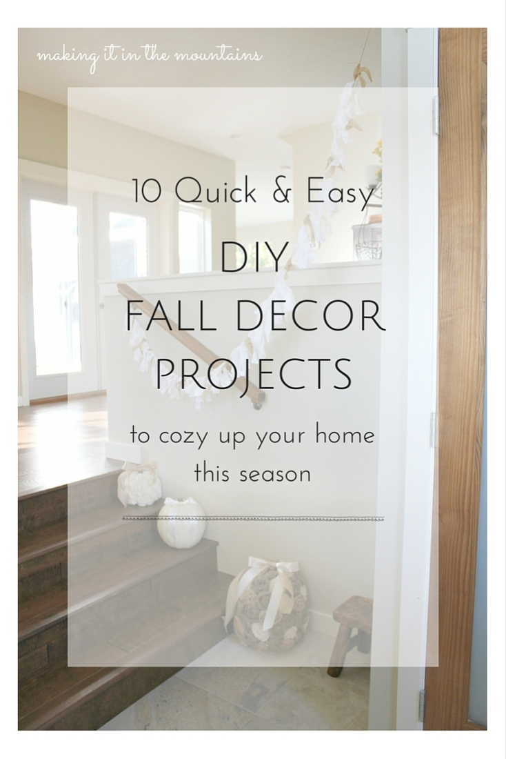 If the beautiful colours and crisp air of Fall has you looking to cozy up your home, you won't want to miss these 10 Quick & Easy DIY Fall Decor Projects!
