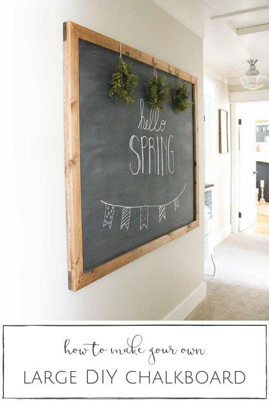This large DIY chalkboard is so simple to make and, unlike most others out there, actually hangs on the wall like a piece of art.   www.makingitinthemountains.com