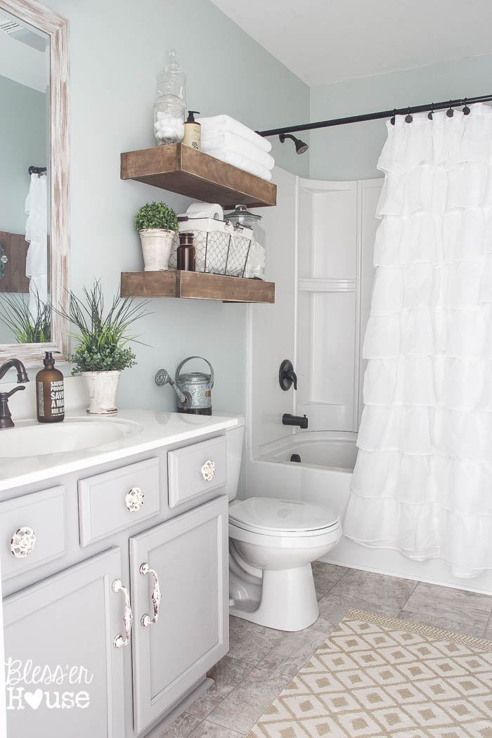 15 Farmhouse Style Bathrooms full of Rustic Charm - making ... on Farmhouse Shower Ideas  id=86340
