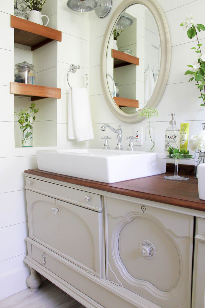 How To Transform A Vintage Buffet Into A DIY Bathroom Vanity |  Www.makingitinthemountains.