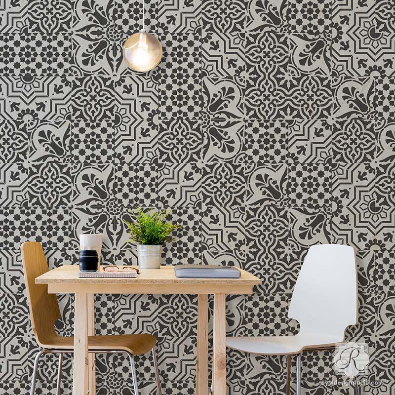 GORGEOUS Spanish Tile Stencils | https://royaldesignstudio.refersion.com/l/86d.64162