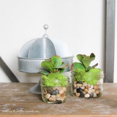 10 Minute Decorating: Faux Succulent Mason Jar Planters