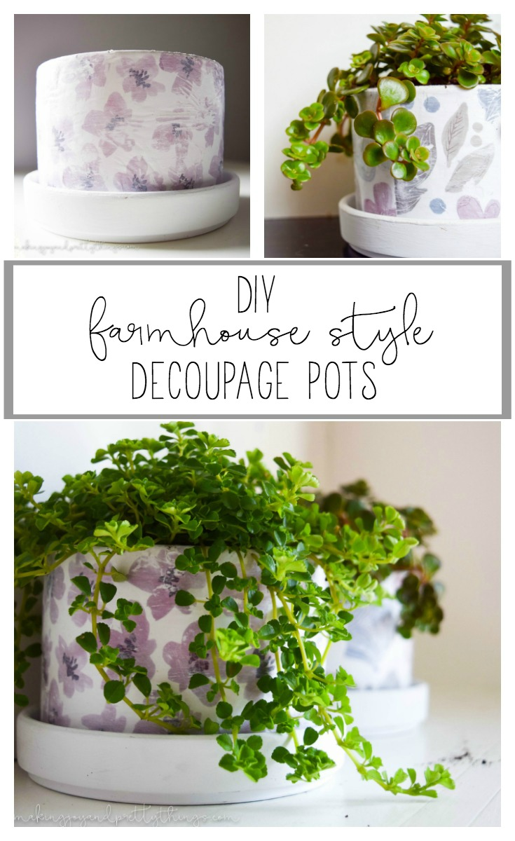 Add farmhouse style to your home with these DIY decoupage pots. An easy DIY craft to add fixer upper style!