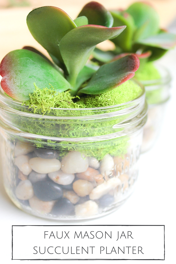 A sweet and simple succulent planter you can keep anywhere! These mason jar succulent planters are so quick and inexpensive to make and the best part, you won't have to worry about watering!