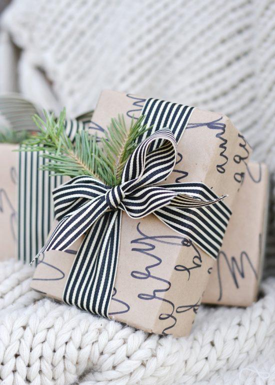 Festive Calligraphy Gift Wrap