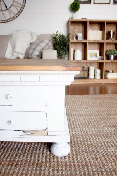 Bring some charm and character to your living room space with this light and bright farmhouse coffee table makeover. | www.makingitinthemountains.com