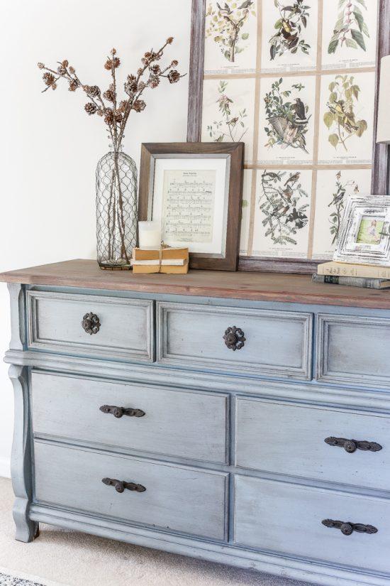 Rustic Blue Dresser Makeover