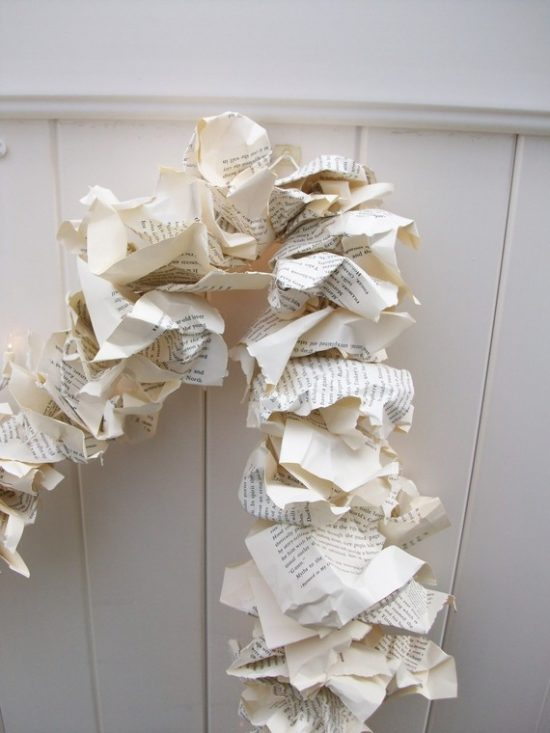 Crumpled Book Page Garland