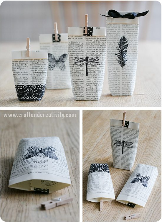 Book Page Gift Bags