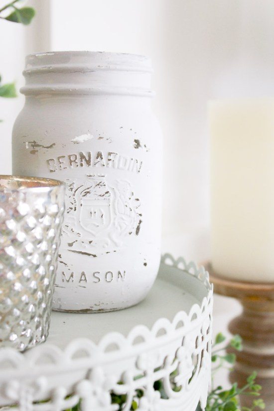How to paint and distress mason jars to add some simple, farmhouse style character.