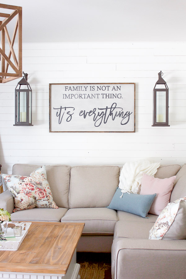 Farmhouse home light bright farmhouse style spring Over the sofa wall decor ideas