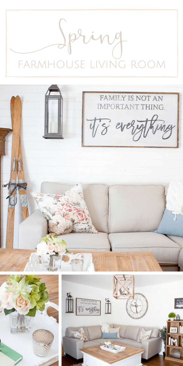 A Bright + Airy Farmhouse Style Spring Living Room - Making ...