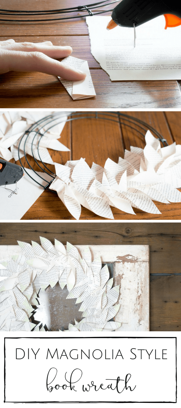 You won't believe how simple this lovely Magnolia style book wreath was to make! | www.makingitinthemountains.com