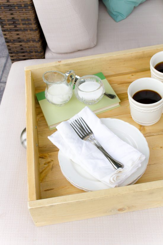 This simple DIY farmhouse serving tray took just minutes to whip up and really is the perfect way to carry everything both inside our outdoors!