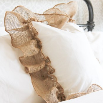 This farmhouse style ruffle burlap pillow was SO simple and inexpensive to make!