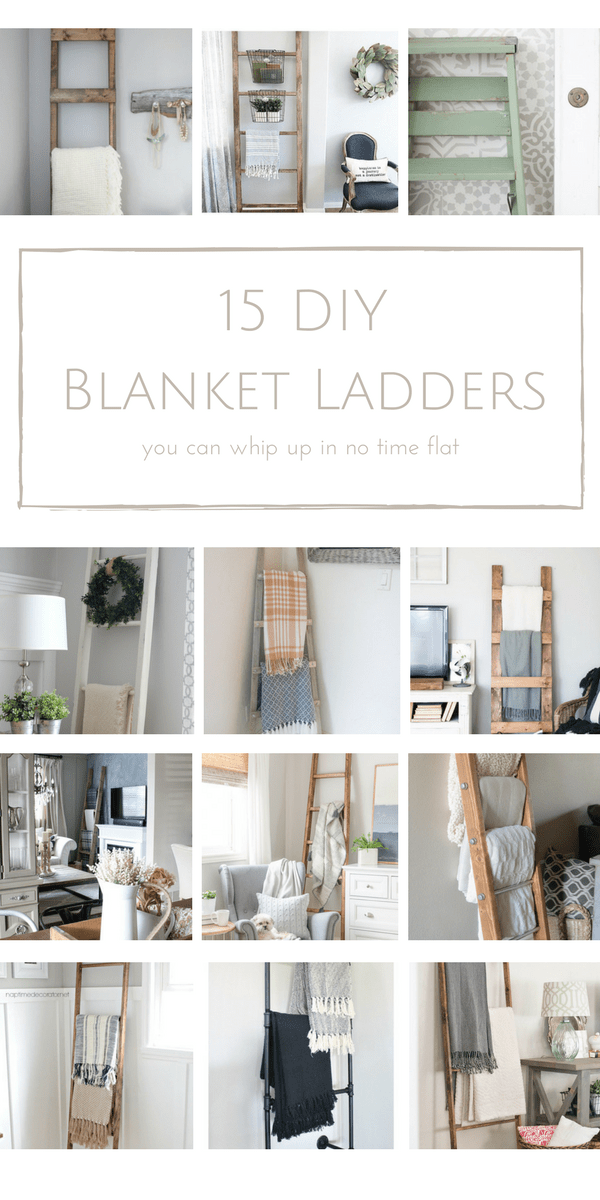There's no better mix of beauty and function than a lovely blanket ladder to display your prettiest blankets! Here are 15 easy DIY blanket ladders that you can whip up in just minutes! | www.makingitinthemountains.com