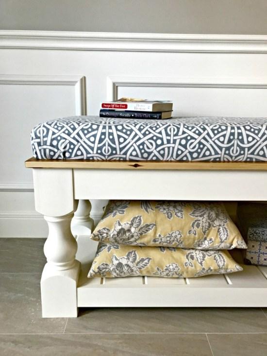 DIY Upholstered Farmhouse Bench