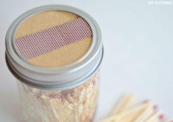 DIY Match Storage Mason Jar