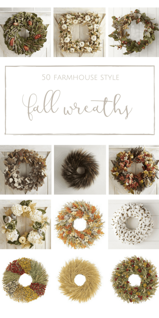 50 Beautiful + Welcoming Fall Wreaths with Farmhouse Style | www.makingitinthemountains.com