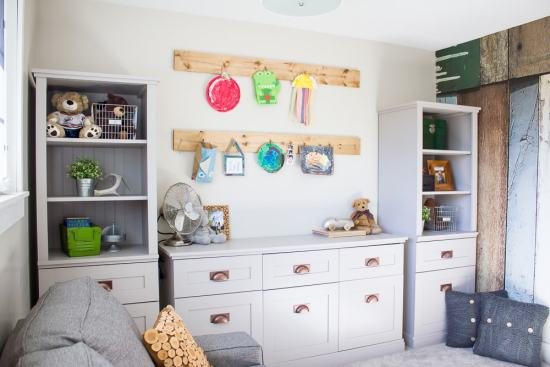 An industrial style playroom space that's as fun to look at as it is to play in!