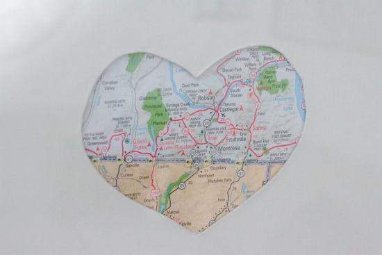 This DIY map heart art is the perfect way to memorialize all of your very favourite places...