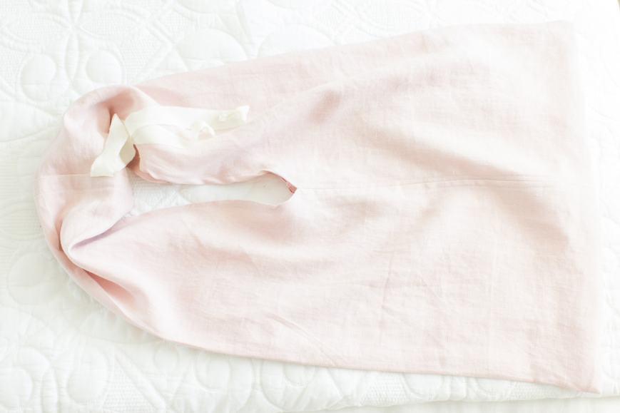 linen tote lying flat