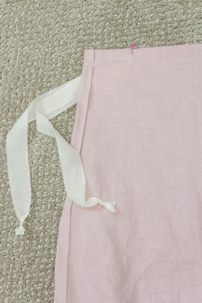 silk ribbon and linen