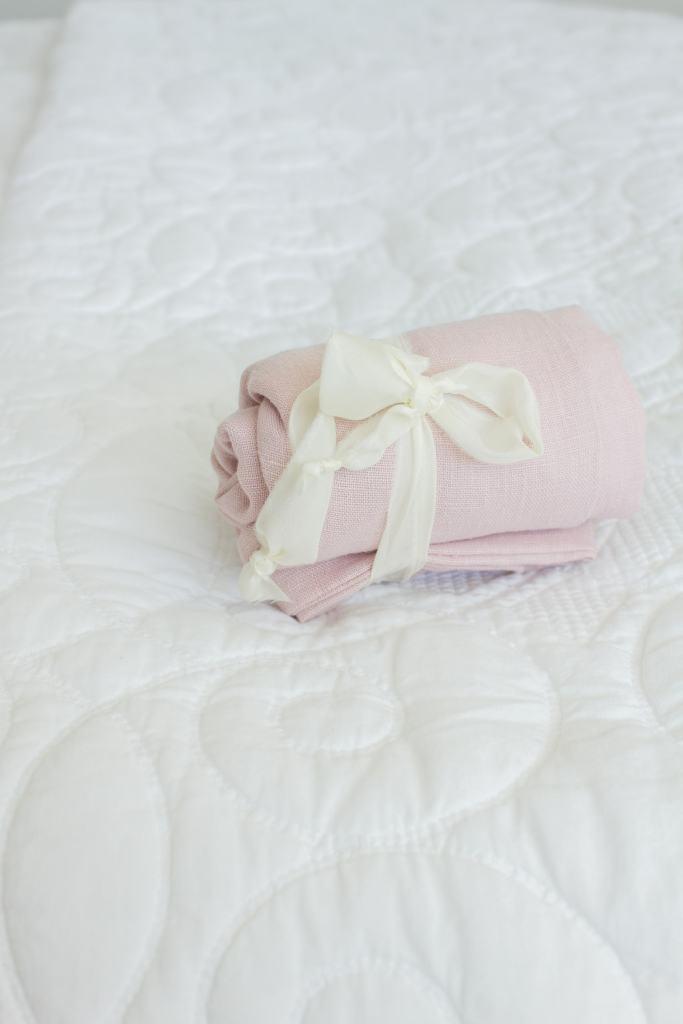 rolled up linen bag