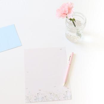pen, paper, stationary, mason jar flower