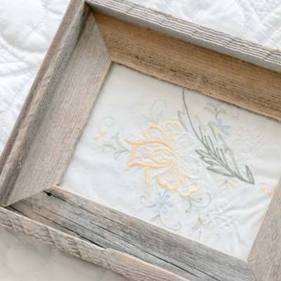 French Vintage Inspired Framed Embroidery Art