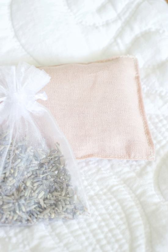 lavender sachet, pink linen