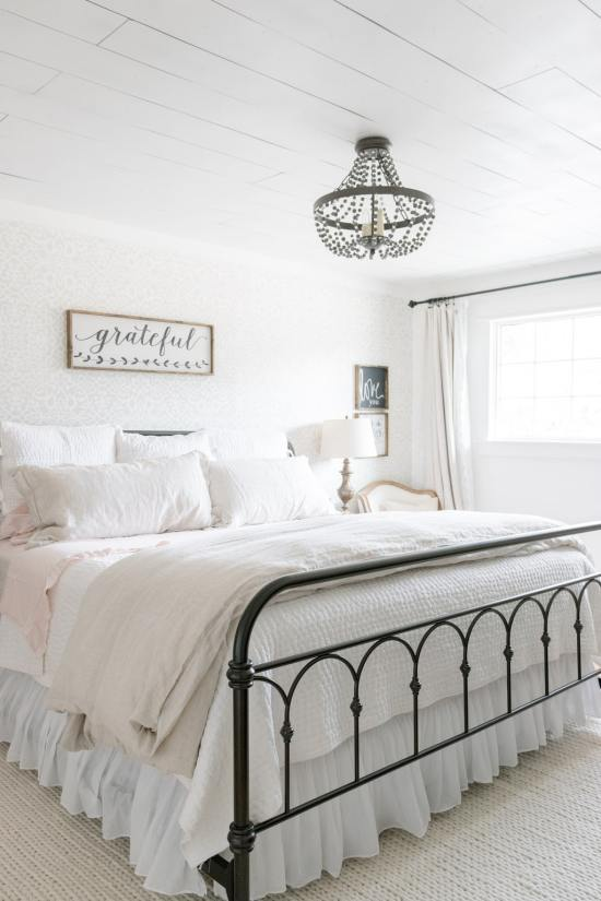 metal bed, farmhouse bedroom, shiplap, linen bedding