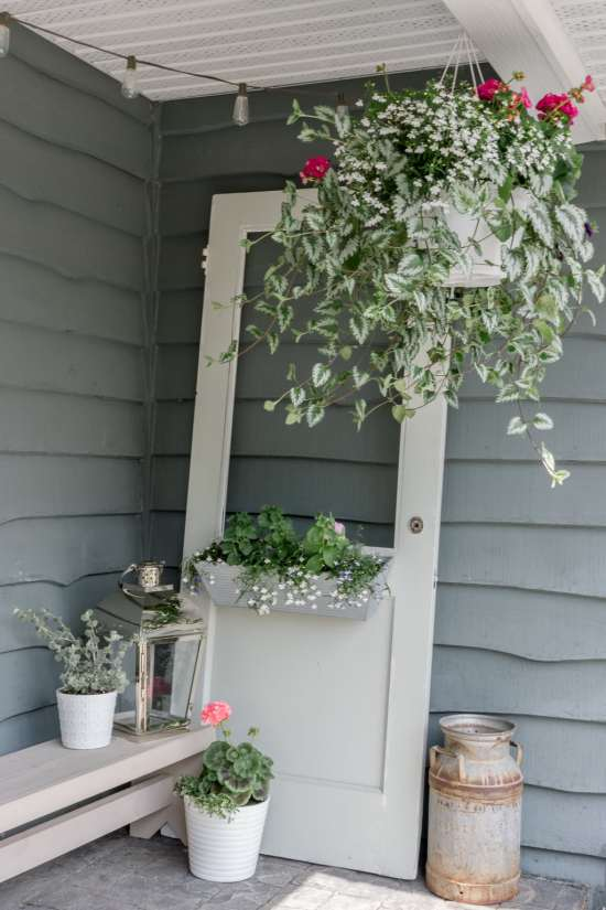 flowers, vintage door, lantern, porch