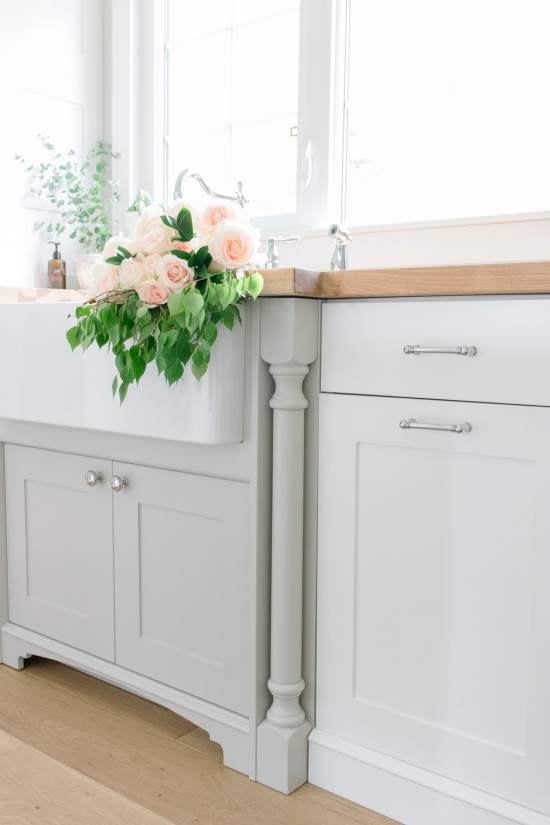 Flowers in farmhouse sink