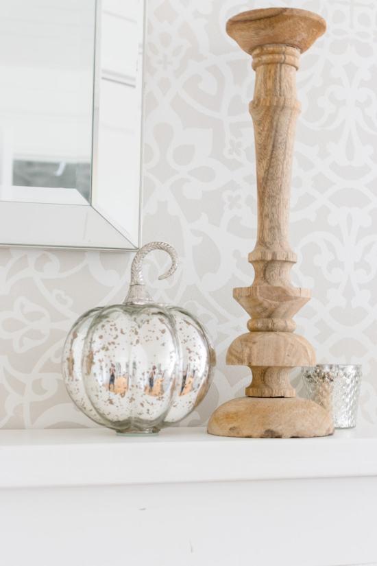 mercury glass pumpkin, wood candlestick