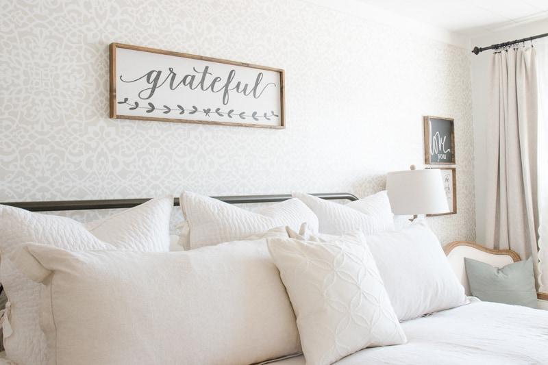 linen bedding, wood sign, spring bedding