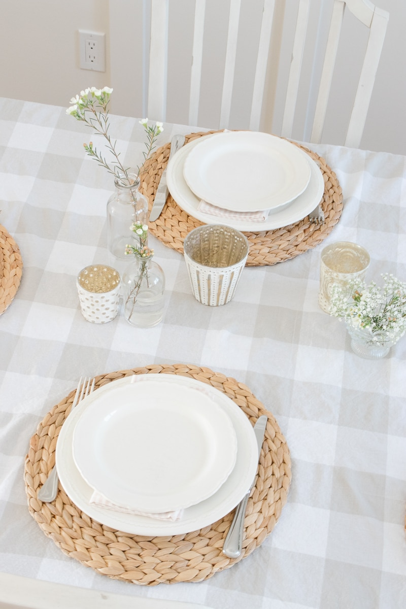 hyacinth placemat, white dishes, spring table