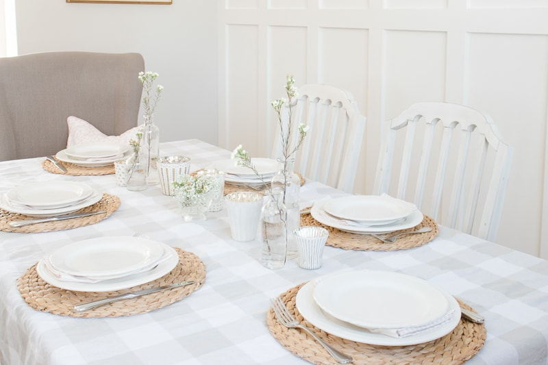 white dishes, spring table