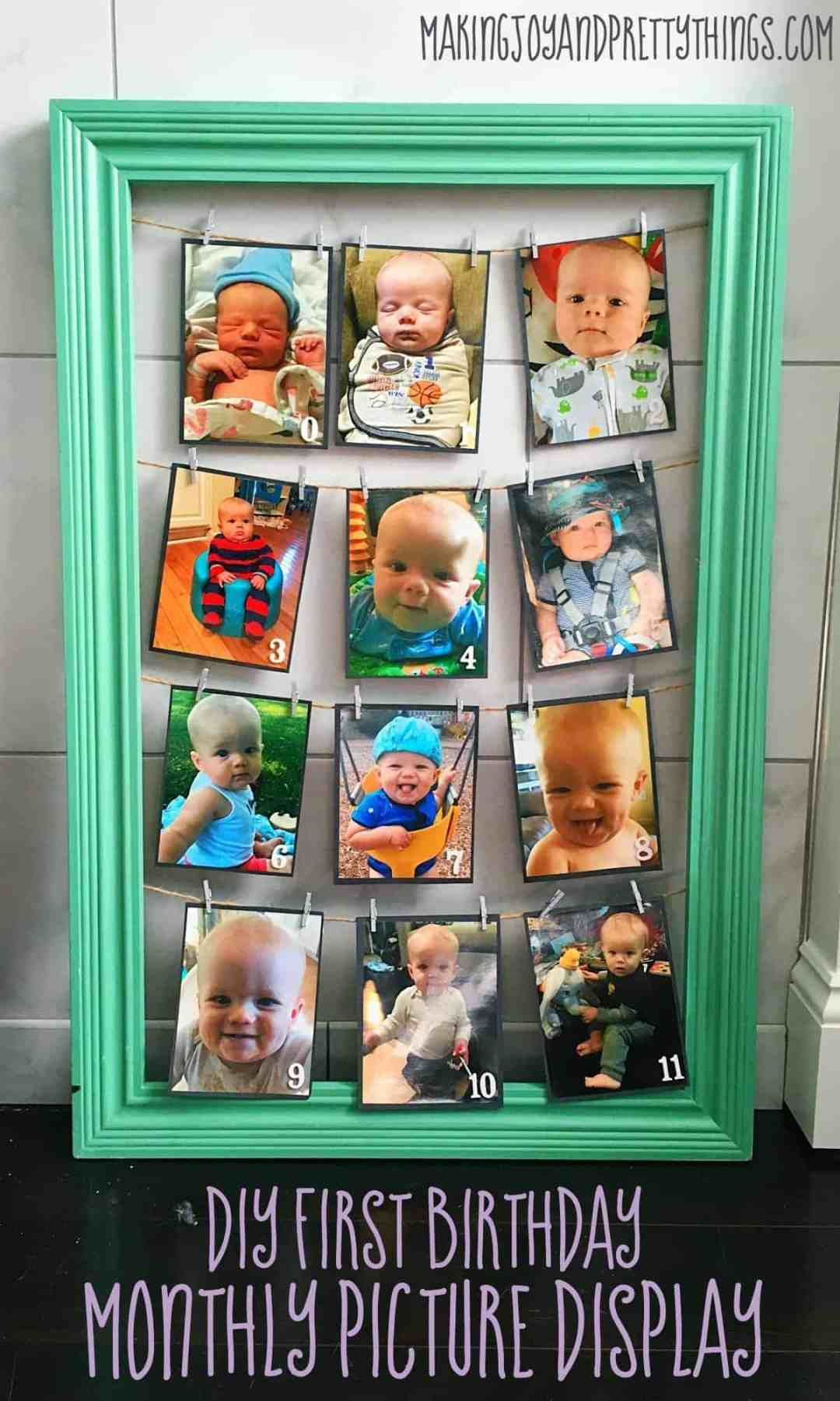DIY Month by Month picture display. Perfect for 1st birthday parties. Easy DIY craft for birthday party decor!