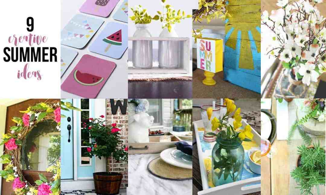 9 Creative Summer Ideas to bring summer decor home! Some great DIY home decor ideas to check out!