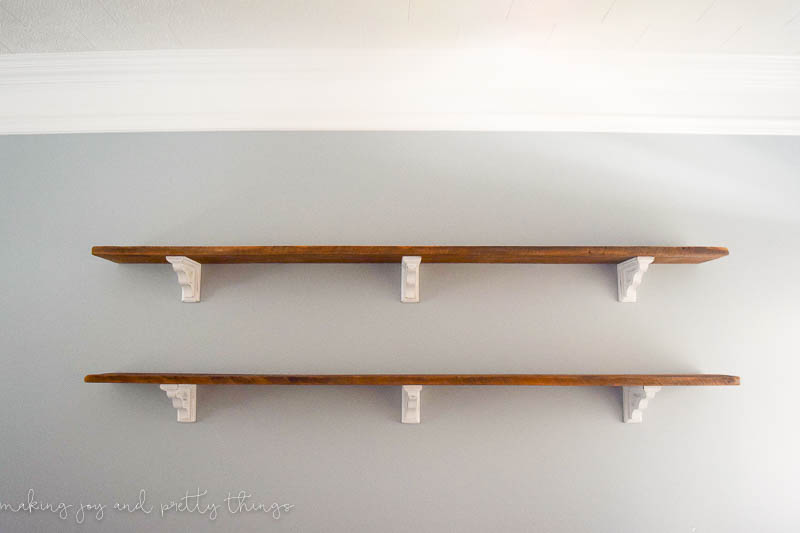 diy farmhouse shelves repurposed wood white corbels