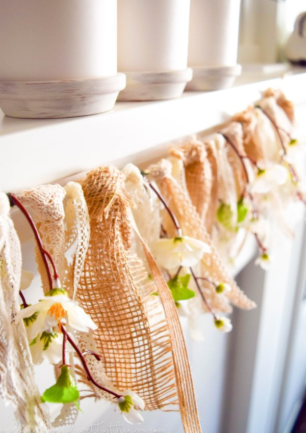 DIY Farmhouse-Inspired Lace + Burlap + Peach Blossom Banner