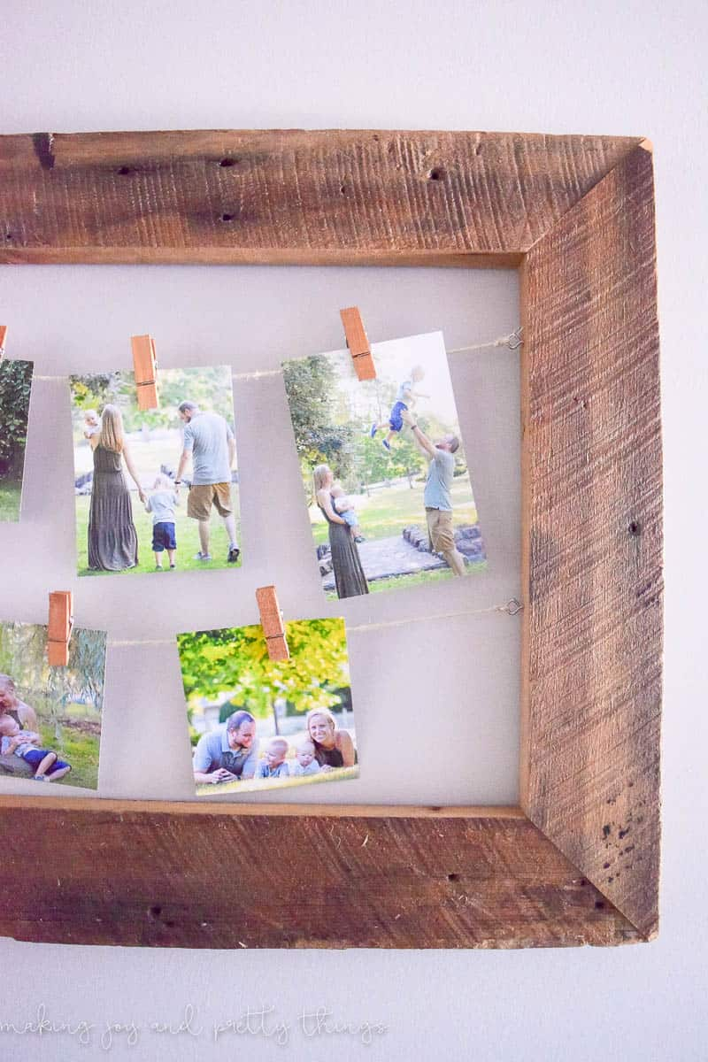 diy rustic photo display made of barnwood for a unique way to display personal and family - Diy Rustic Picture Frame