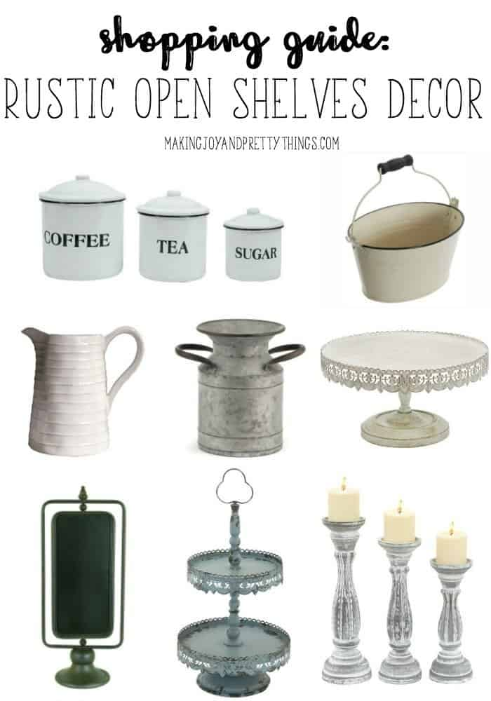 Shopping Guide: Rustic Open Shelves Decor. Tons of fixer upper and farmhouse decor items that would look perfect on open shelves