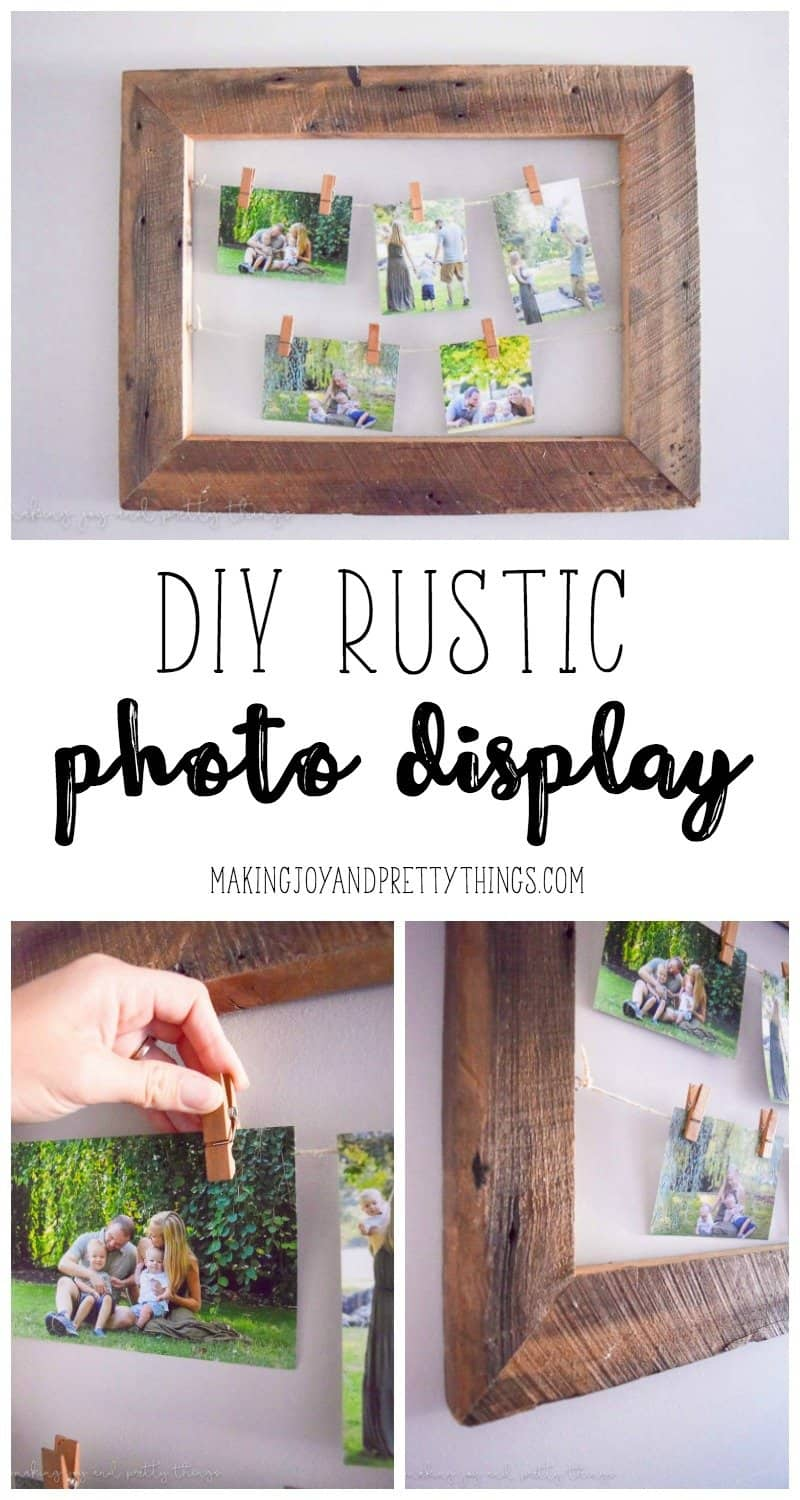 DIY Rustic Photo Display made of barnwood for a unique way to display personal and family photos. Easy DIY project to add some farmhouse style to your home